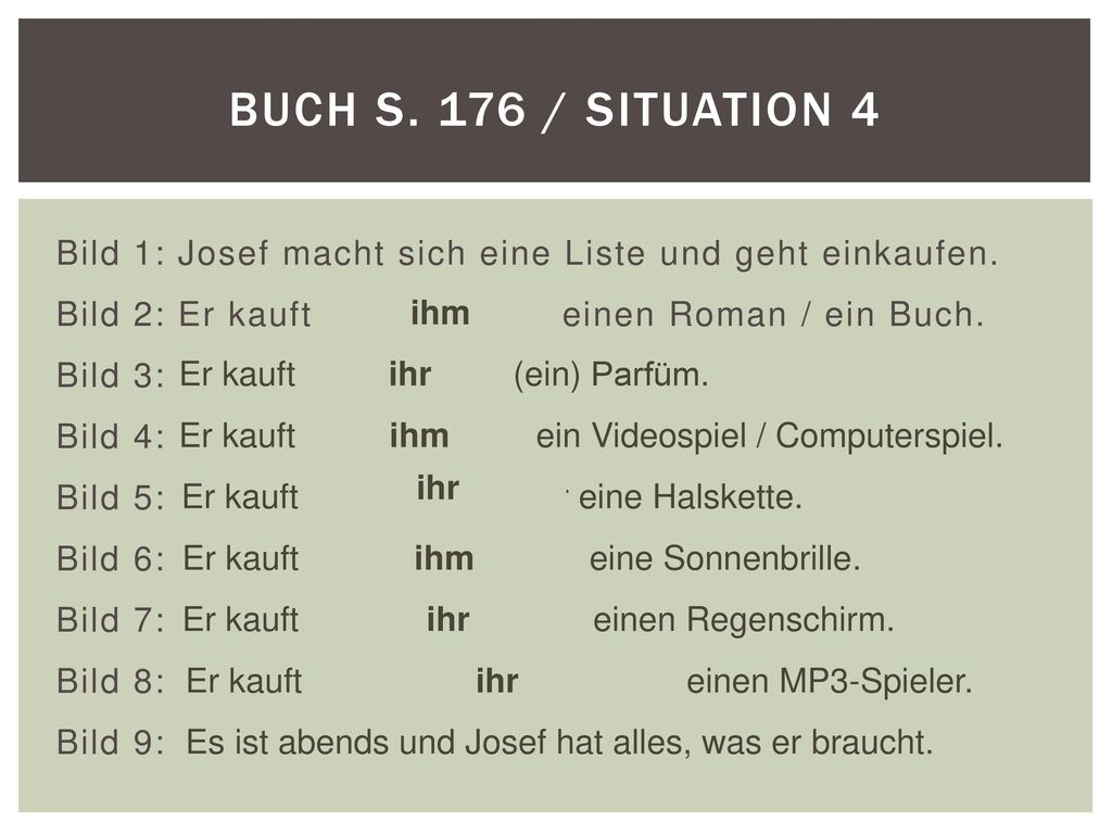 Buch S. 176 / Situation 4