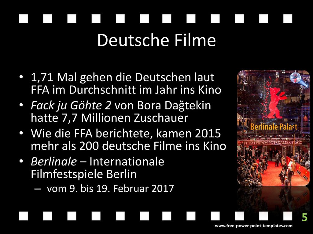Deutsche Filme 1,71 Mal gehen die Deutschen laut FFA im Durchschnitt im Jahr ins Kino.