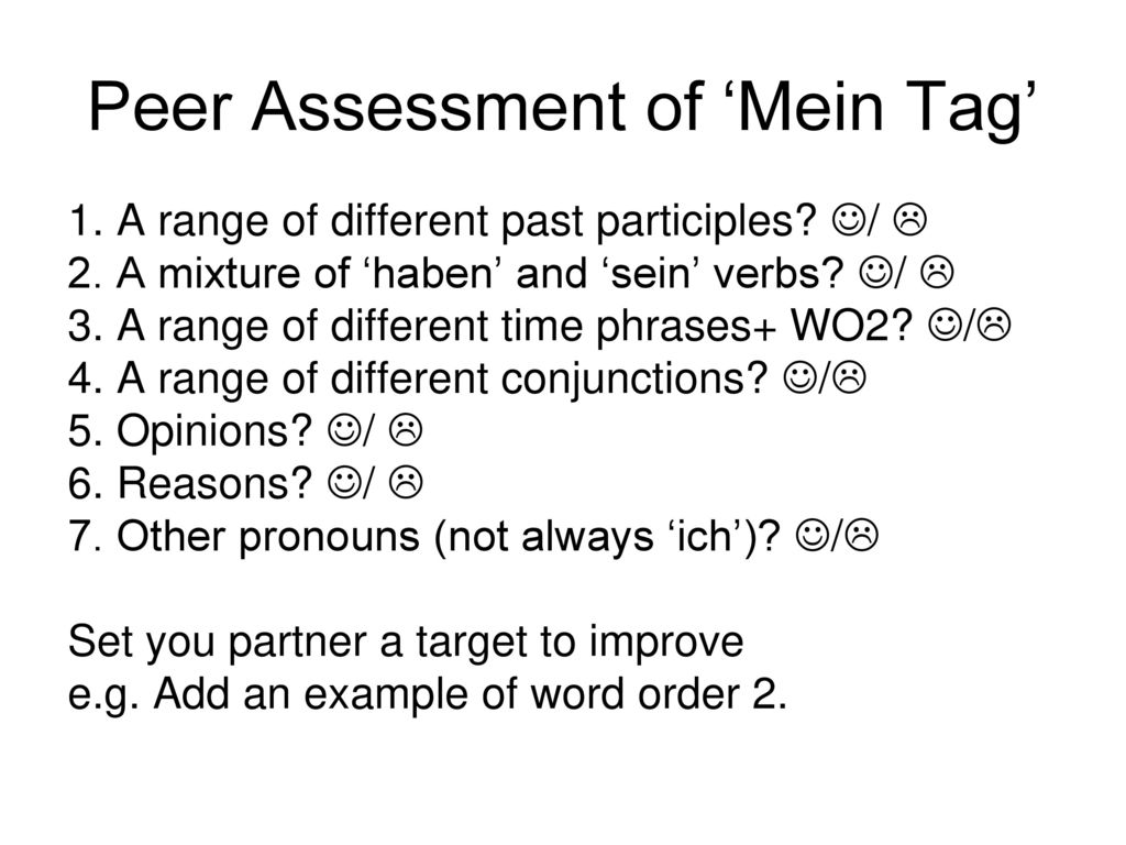 Peer Assessment of 'Mein Tag'
