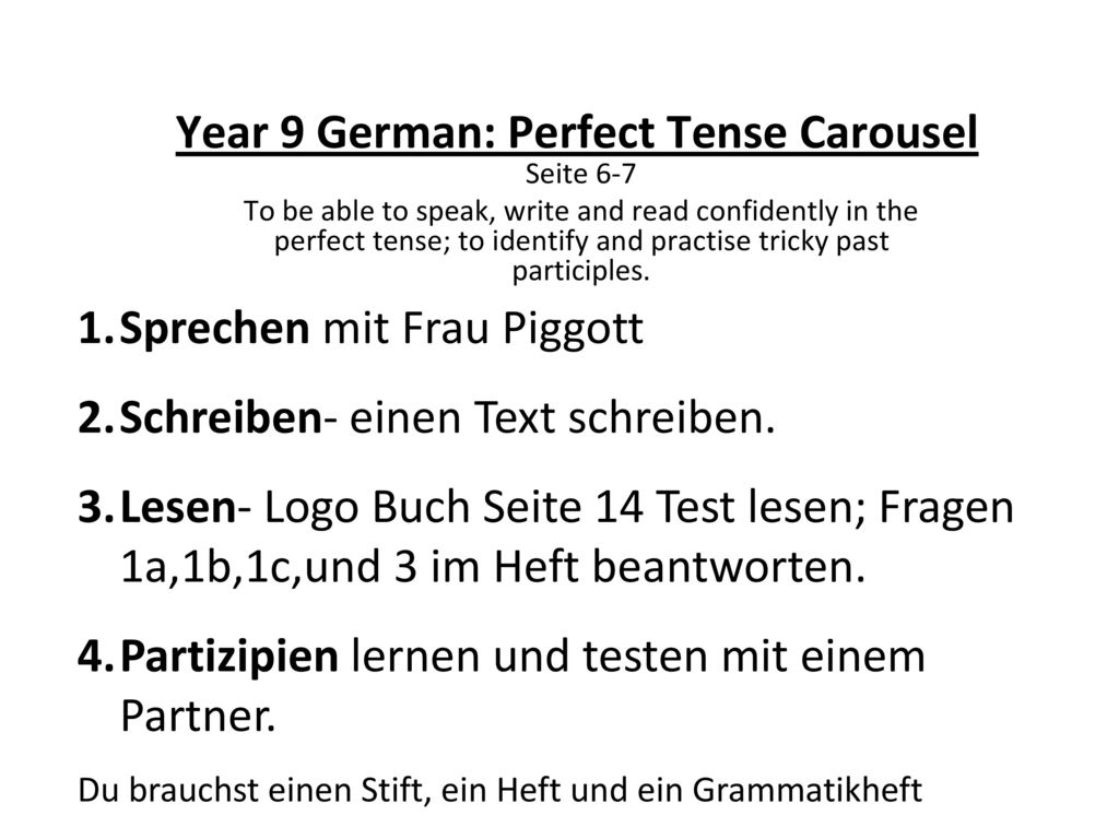 Year 9 German: Perfect Tense Carousel