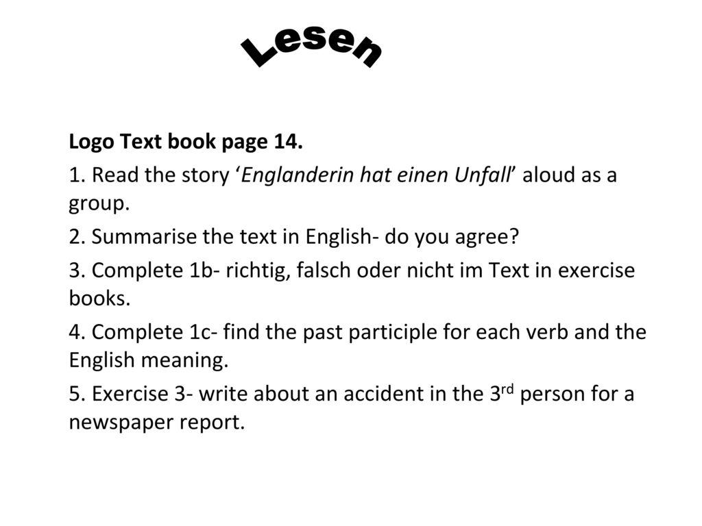 Lesen Logo Text book page 14.