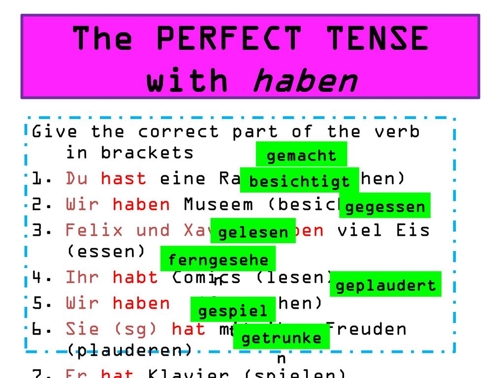 The PERFECT TENSE with haben