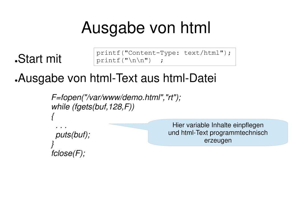Ausgabe von html Start mit Ausgabe von html-Text aus html-Datei