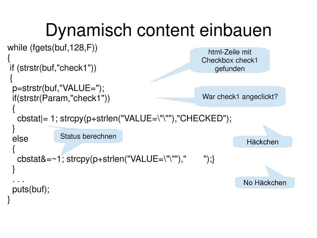 Dynamisch content einbauen