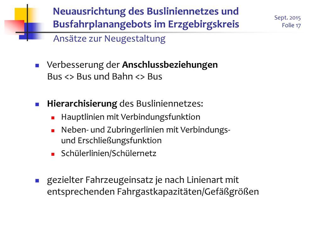 Neuausrichtung des Busliniennetzes und Busfahrplanangebots im Erzgebirgskreis