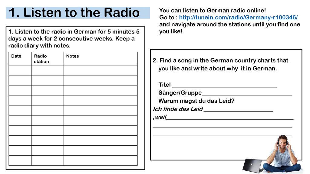 1. Listen to the Radio You can listen to German radio online!
