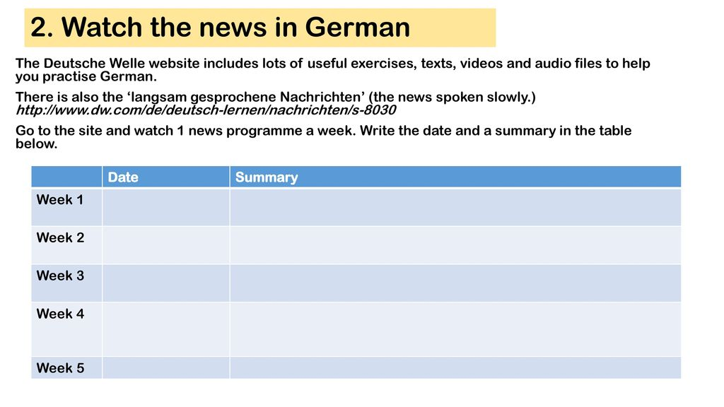 2. Watch the news in German