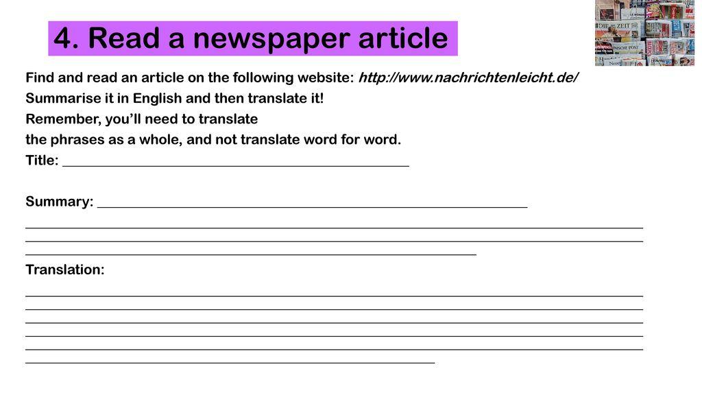 4. Read a newspaper article