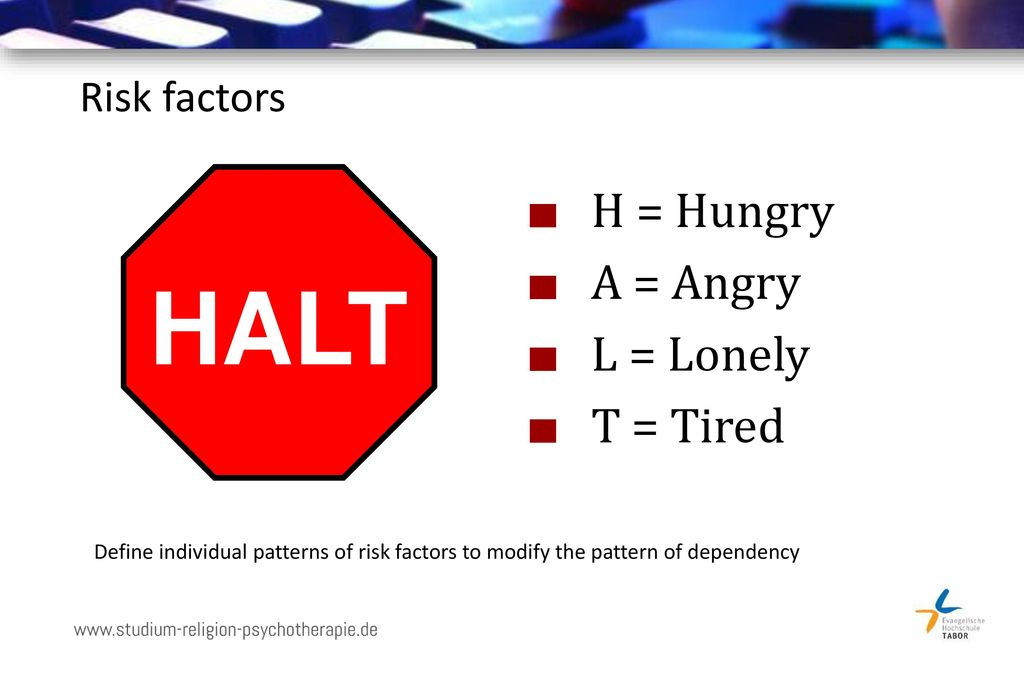 HALT H = Hungry A = Angry L = Lonely T = Tired Risk factors