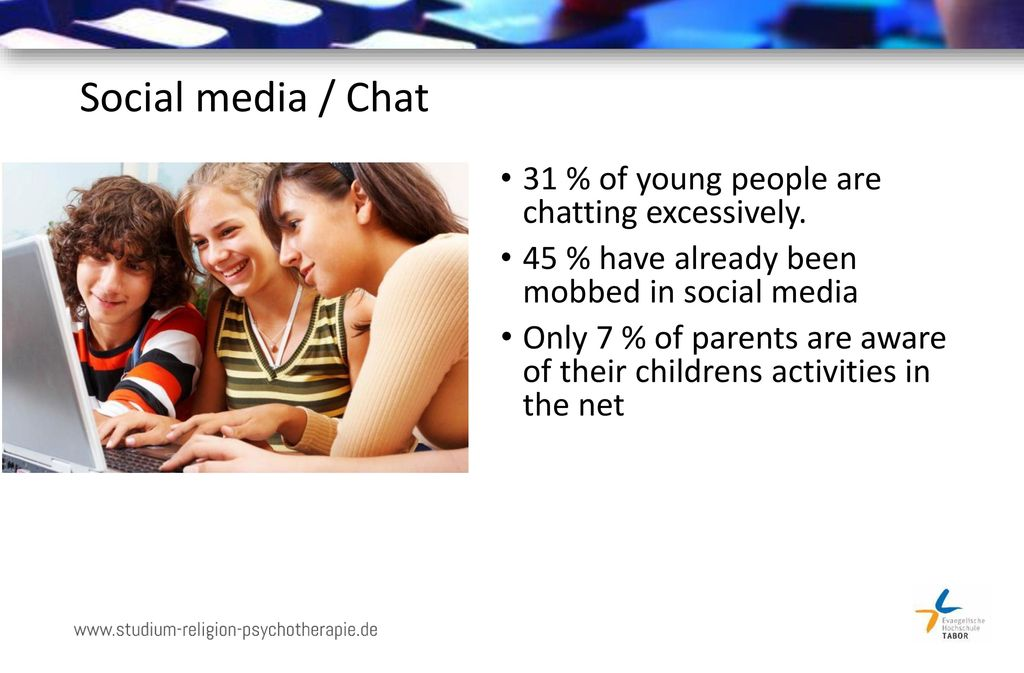 Social media / Chat 31 % of young people are chatting excessively.