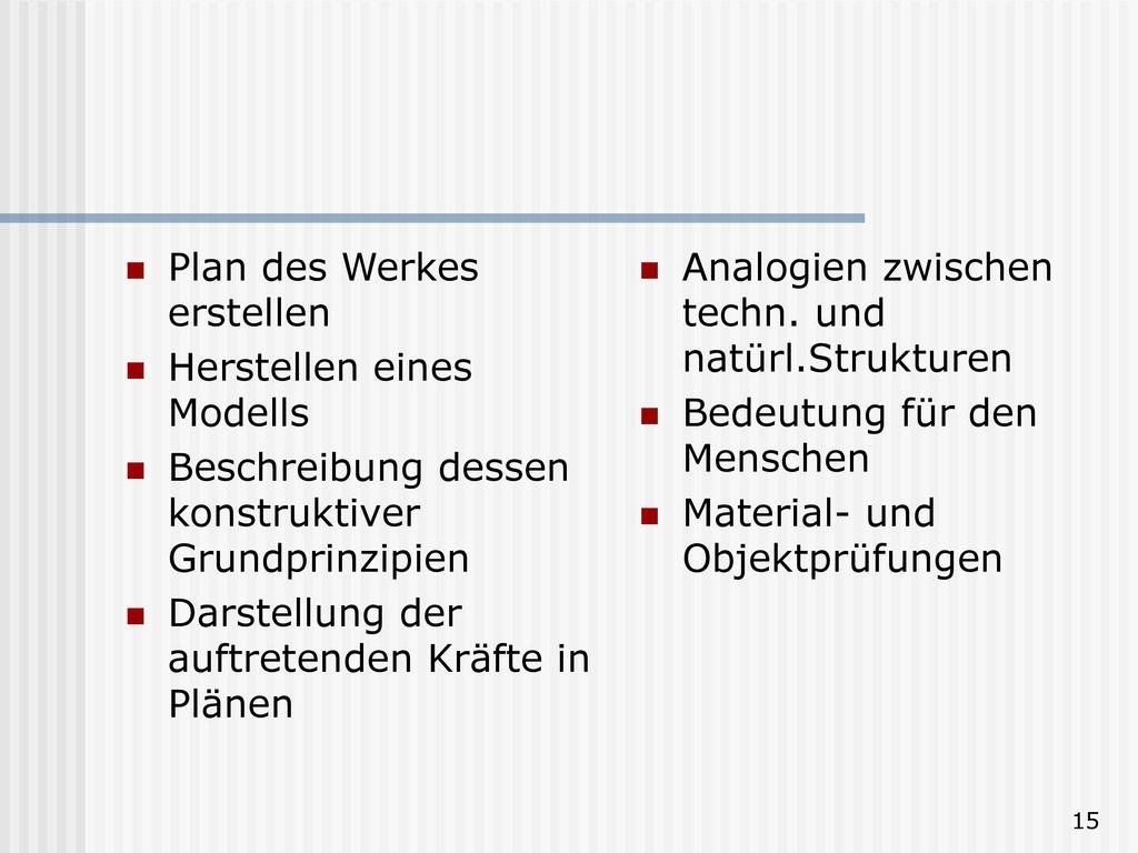 Plan des Werkes erstellen