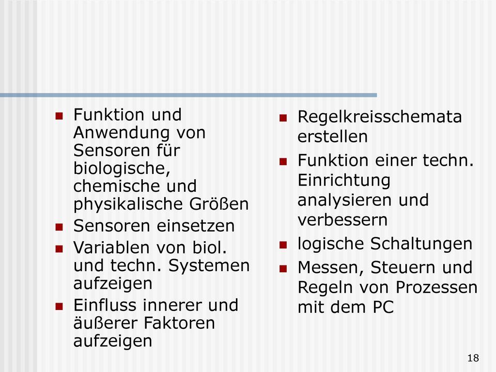 Funktion und Anwendung von Sensoren für biologische, chemische und physikalische Größen