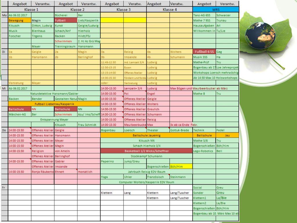 Stundenplan einer 5. Klasse