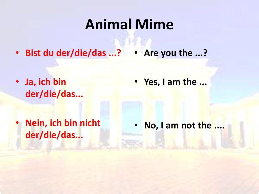 Animal Mime Bist du der/die/das ... Ja, ich bin der/die/das...