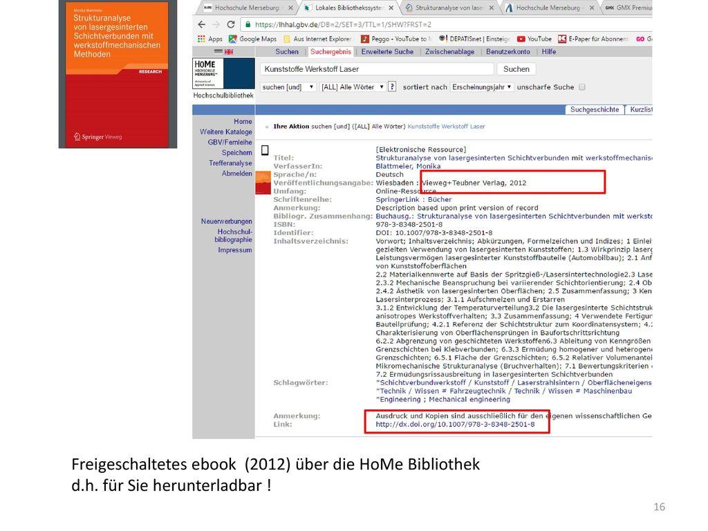 Freigeschaltetes ebook (2012) über die HoMe Bibliothek