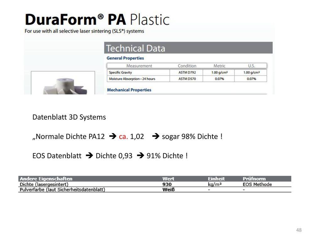 "Datenblatt 3D Systems ""Normale Dichte PA12  ca. 1,02  sogar 98% Dichte ."