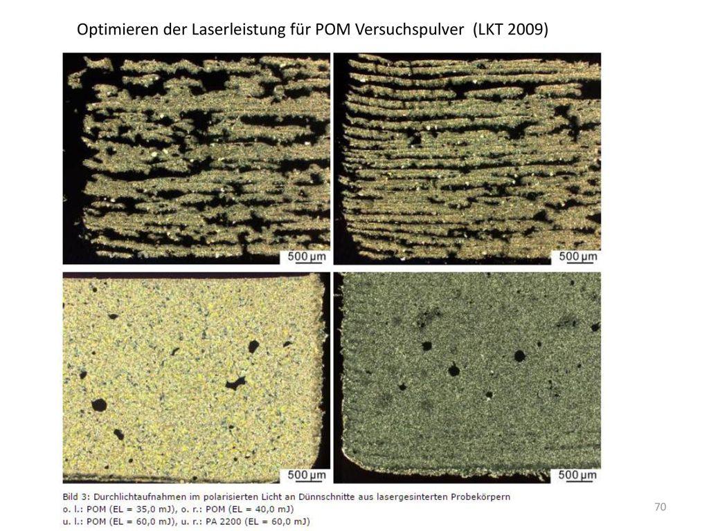 Optimieren der Laserleistung für POM Versuchspulver (LKT 2009)