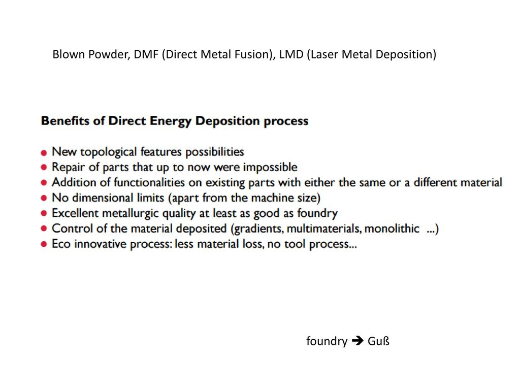 Blown Powder, DMF (Direct Metal Fusion), LMD (Laser Metal Deposition)