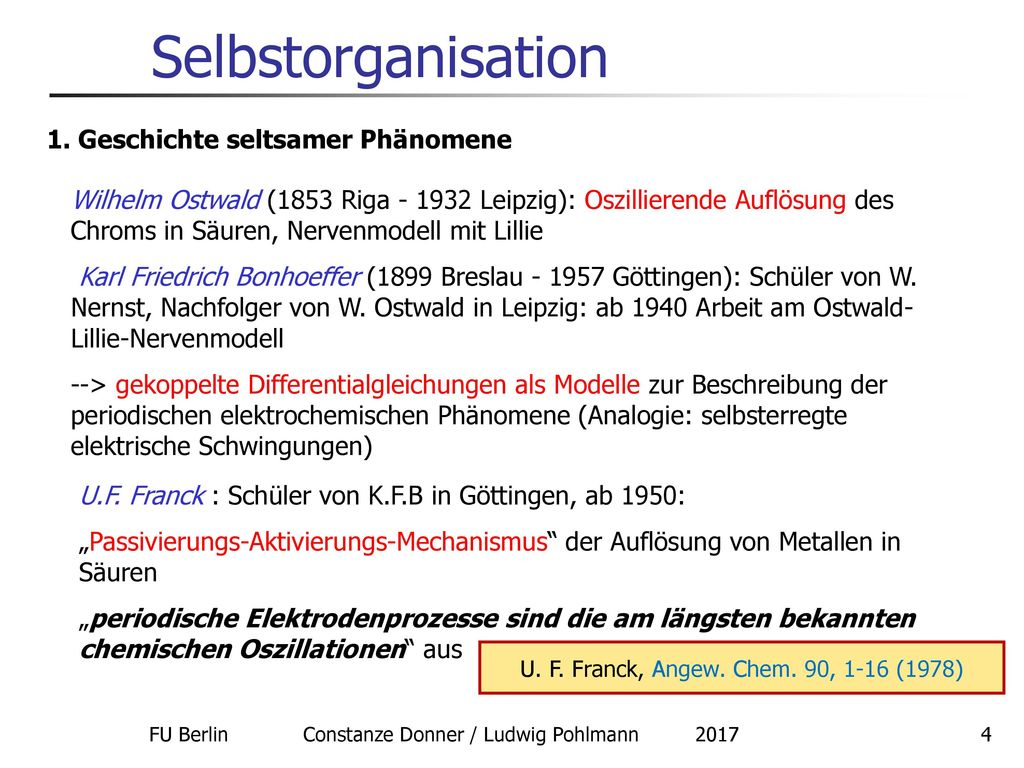 Selbstorganisation 1. Geschichte seltsamer Phänomene