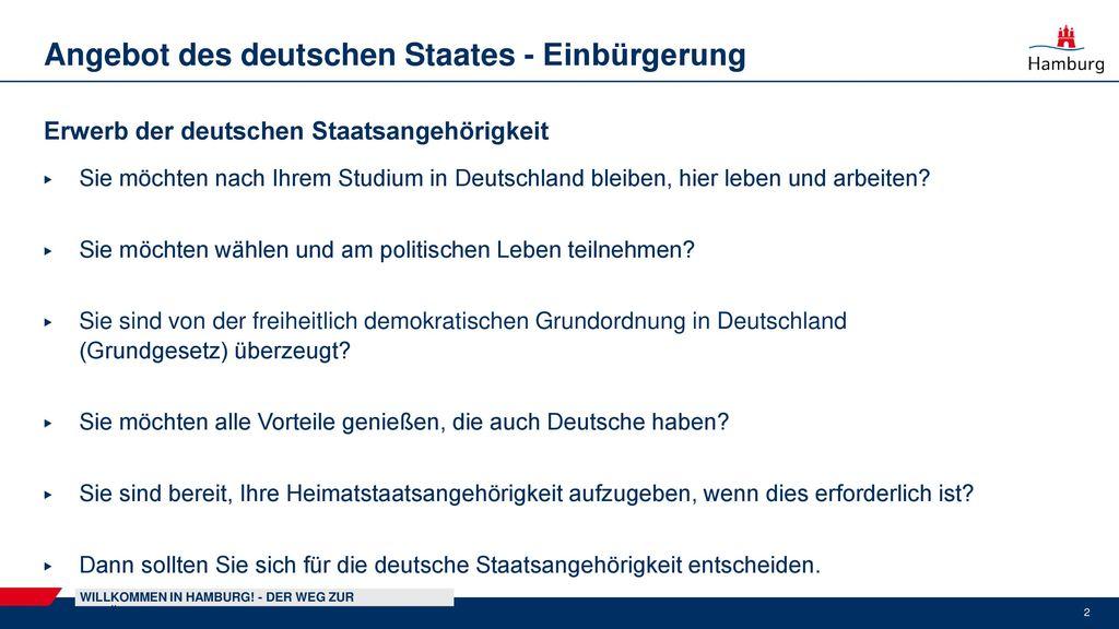 Angebot des deutschen Staates - Einbürgerung