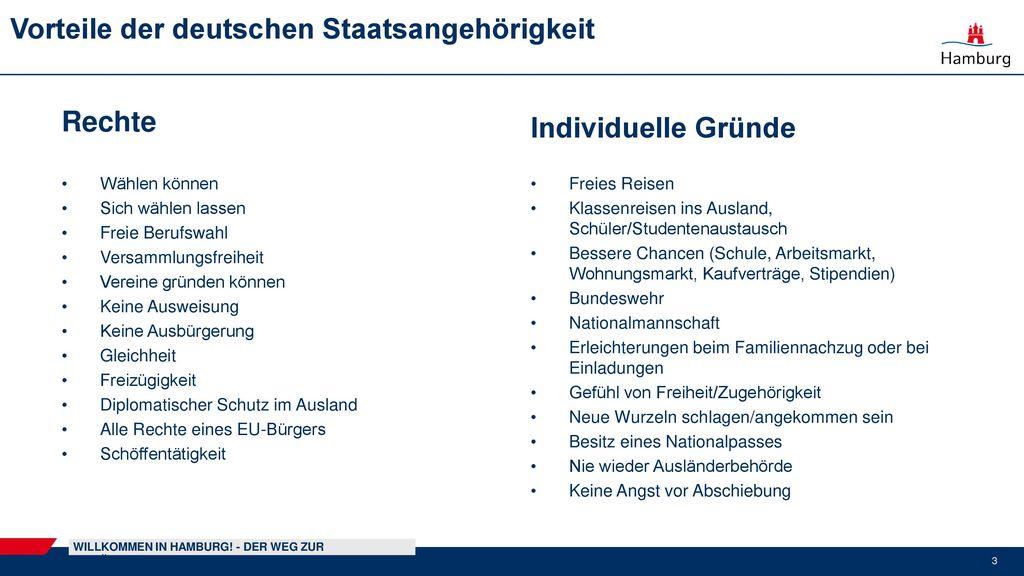 Vorteile der deutschen Staatsangehörigkeit