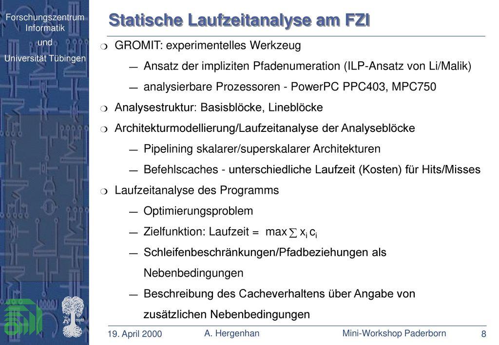 Statische Laufzeitanalyse am FZI
