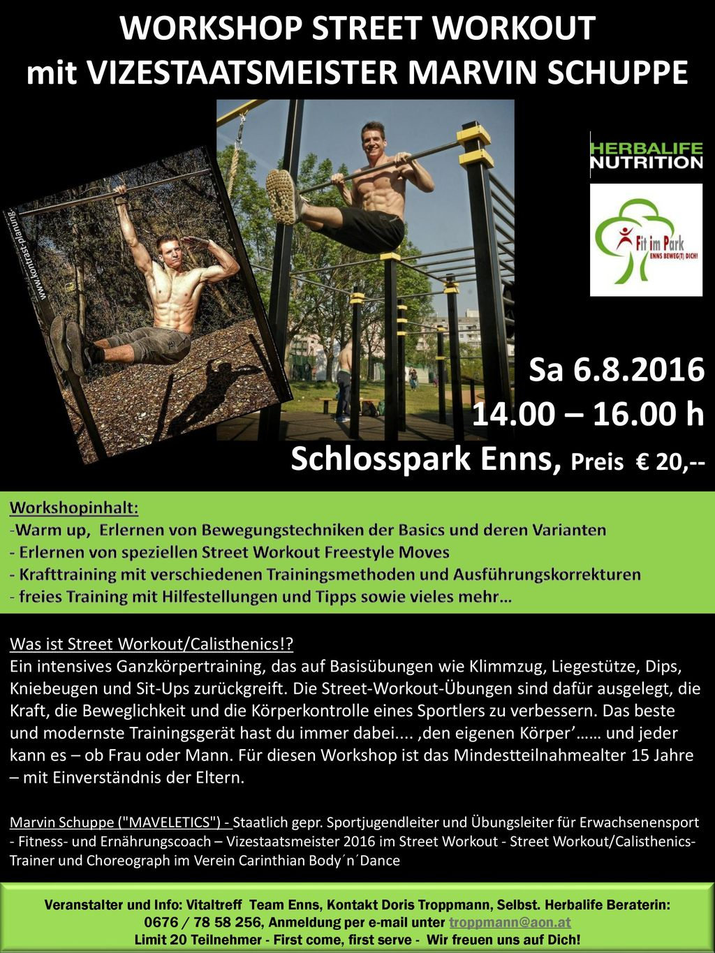 WORKSHOP STREET WORKOUT mit VIZESTAATSMEISTER MARVIN SCHUPPE