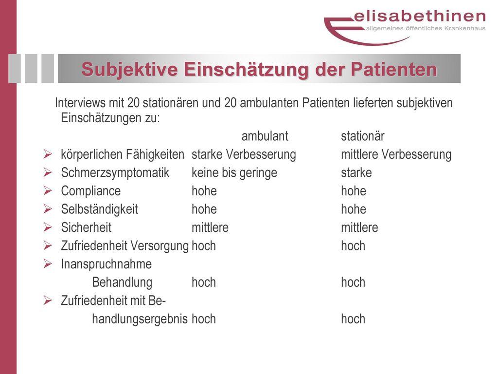 Subjektive Einschätzung der Patienten