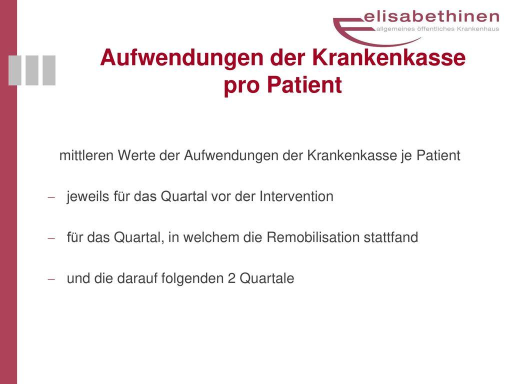 Aufwendungen der Krankenkasse pro Patient