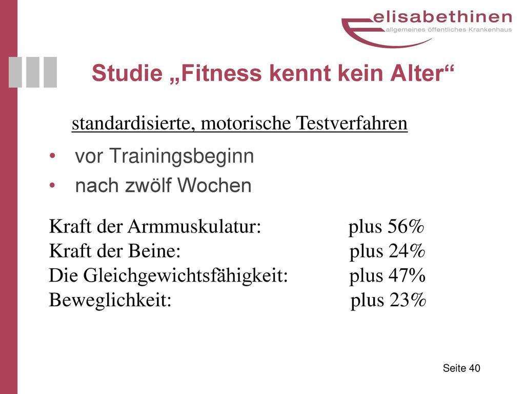 """Studie """"Fitness kennt kein Alter"""