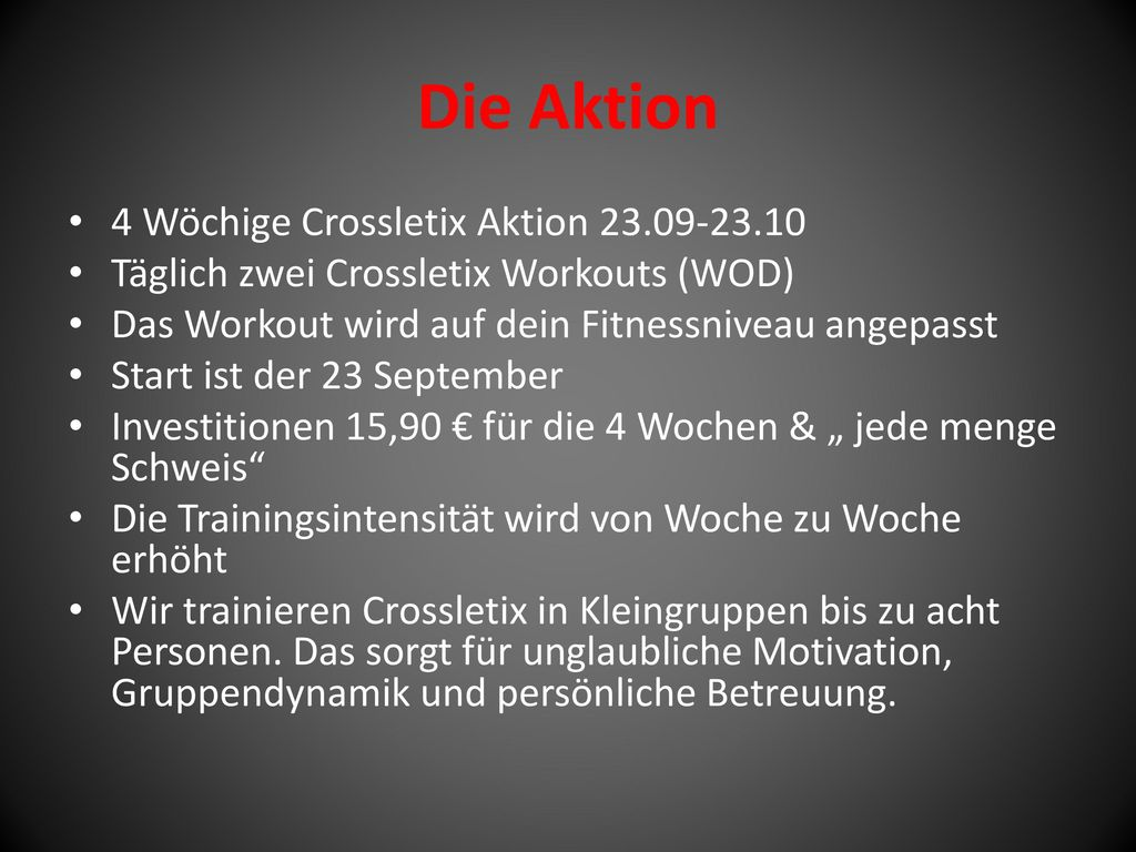 Die Aktion 4 Wöchige Crossletix Aktion 23.09-23.10