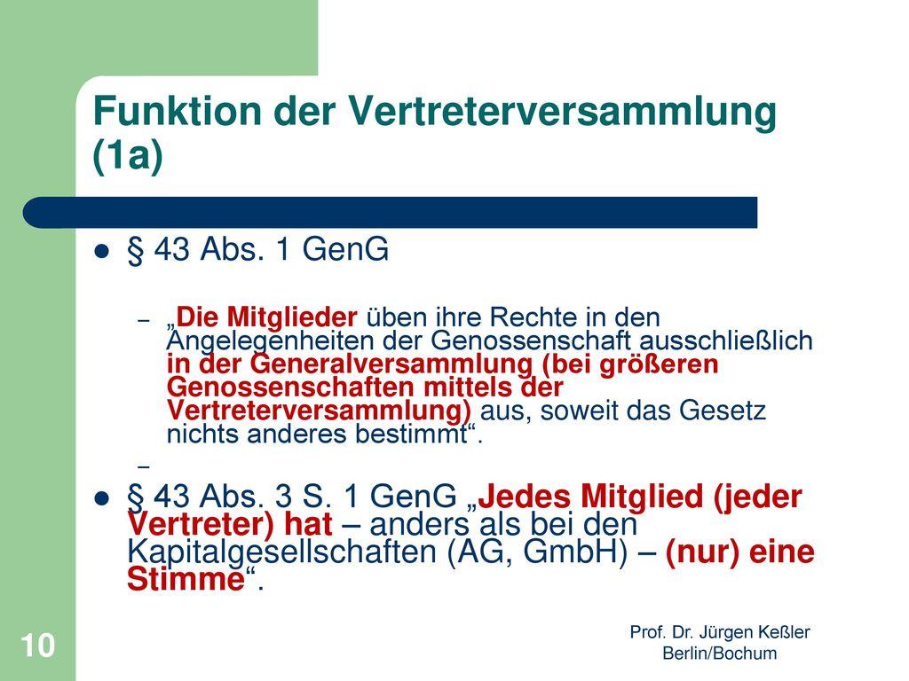 Funktion der Vertreterversammlung (1a)