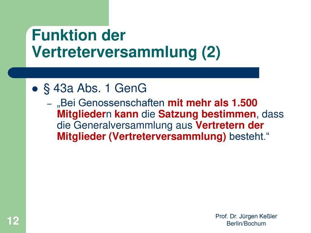 Funktion der Vertreterversammlung (2)