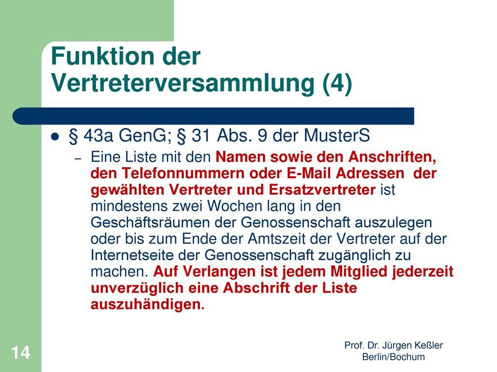 Funktion der Vertreterversammlung (4)