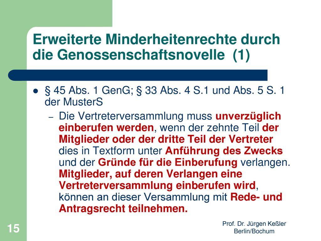 Erweiterte Minderheitenrechte durch die Genossenschaftsnovelle (1)