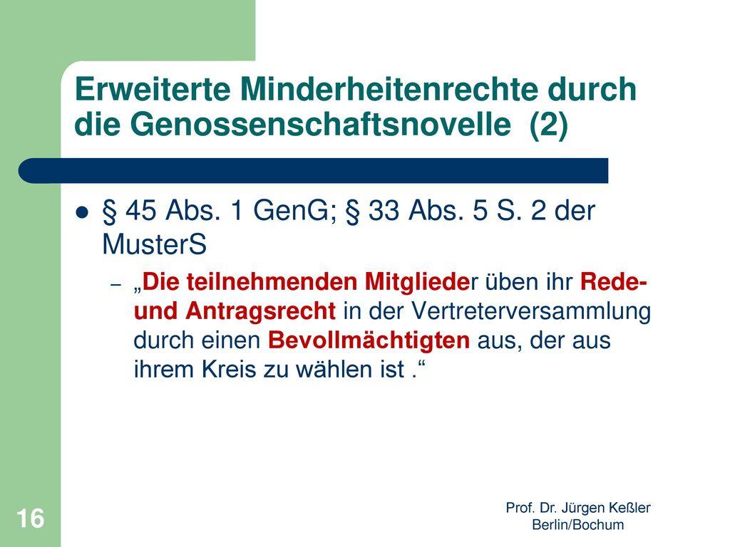 Erweiterte Minderheitenrechte durch die Genossenschaftsnovelle (2)