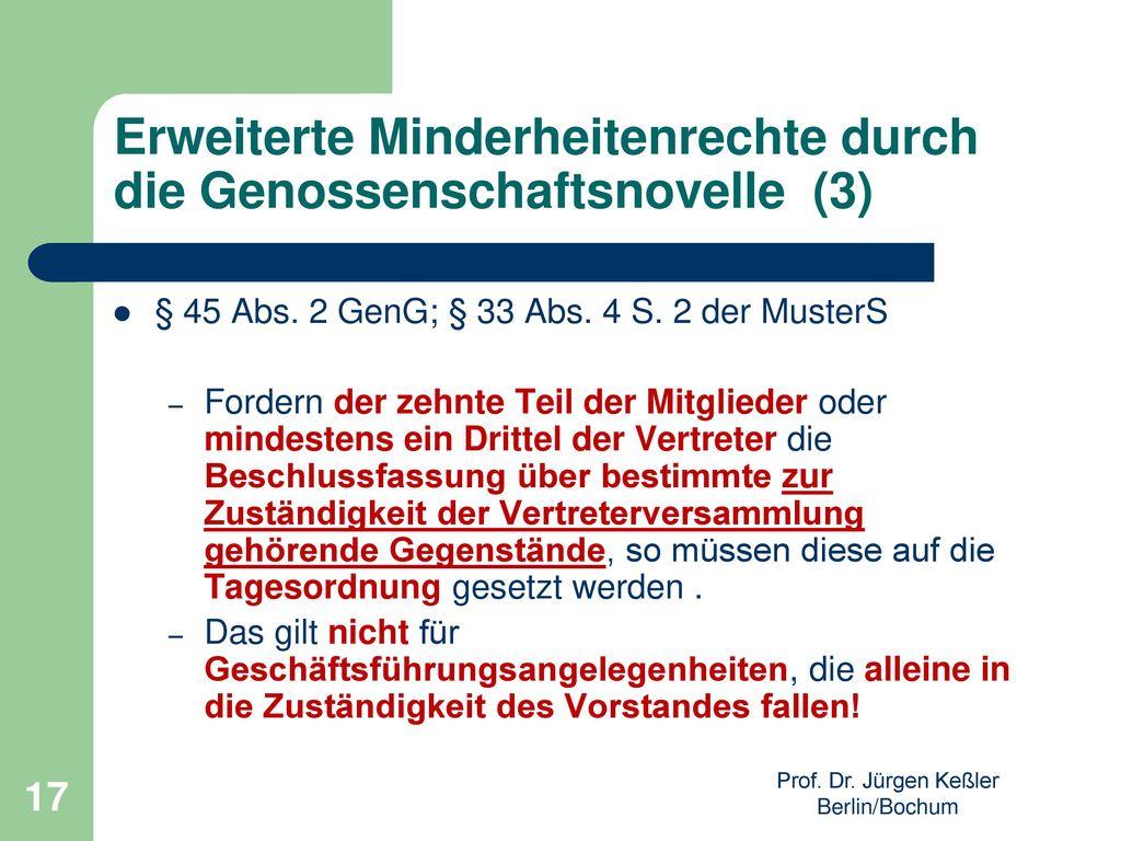 Erweiterte Minderheitenrechte durch die Genossenschaftsnovelle (3)