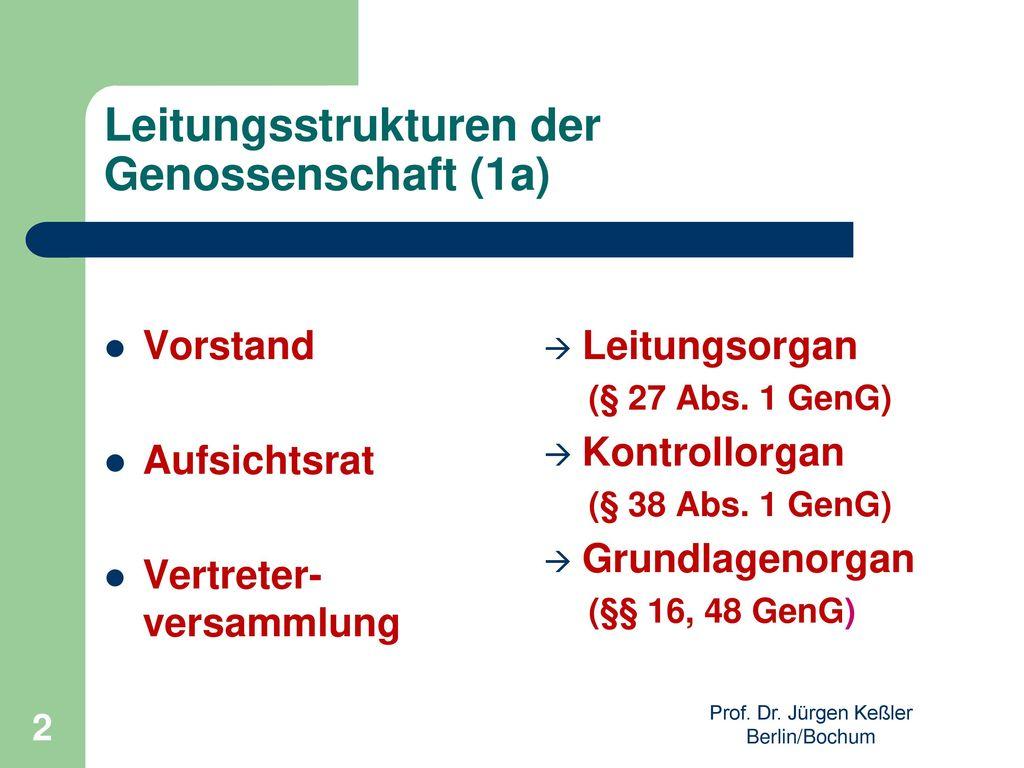 Leitungsstrukturen der Genossenschaft (1a)