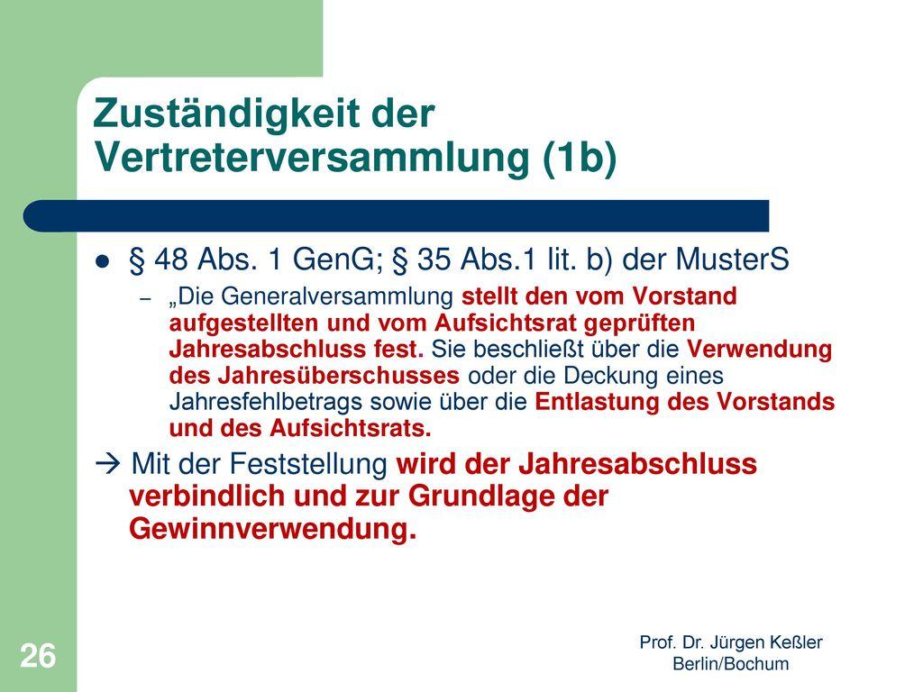 Zuständigkeit der Vertreterversammlung (1b)