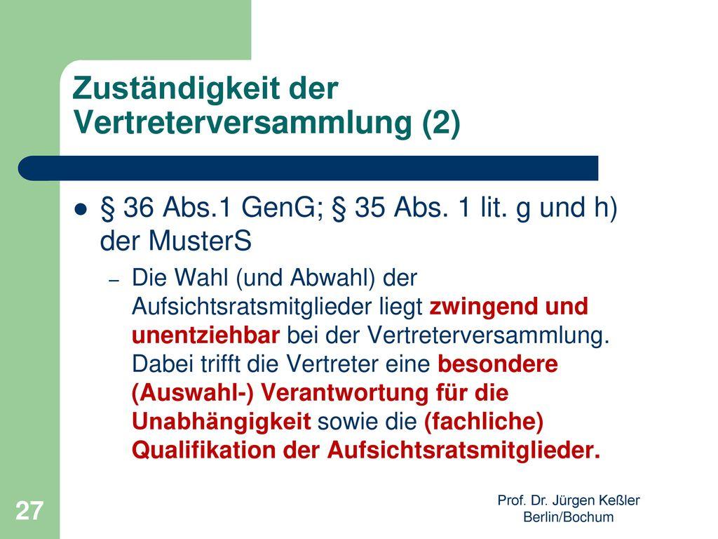 Zuständigkeit der Vertreterversammlung (2)