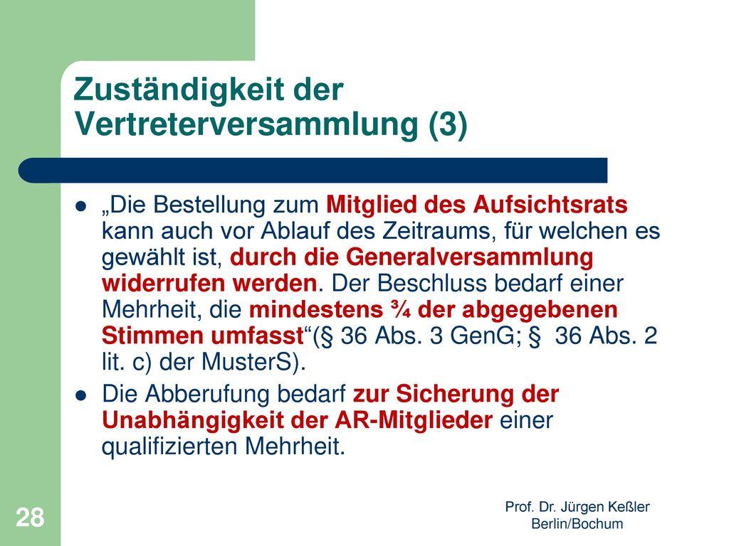 Zuständigkeit der Vertreterversammlung (3)