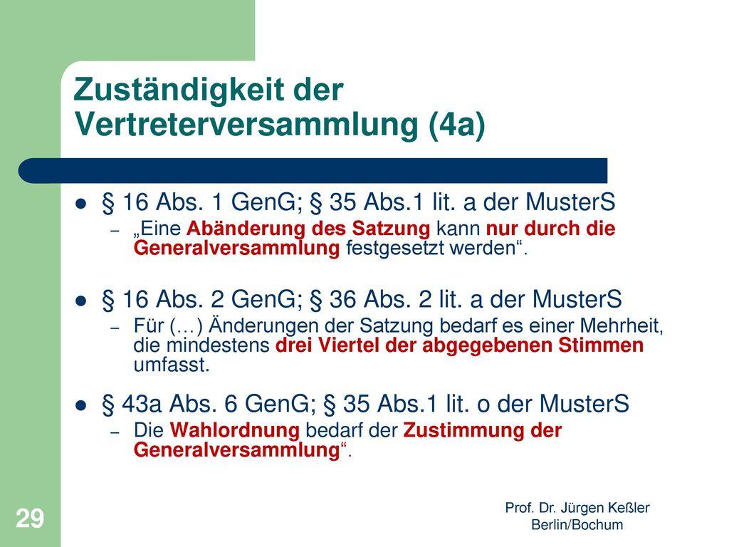 Zuständigkeit der Vertreterversammlung (4a)