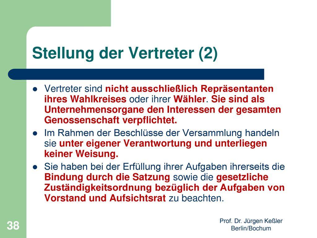 Stellung der Vertreter (2)