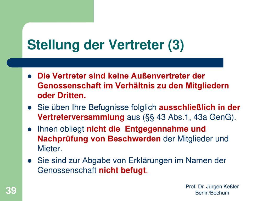 Stellung der Vertreter (3)