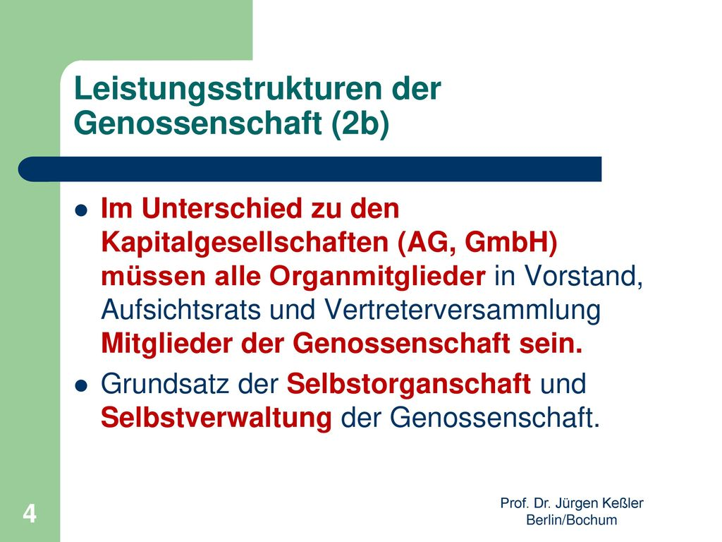 Leistungsstrukturen der Genossenschaft (2b)