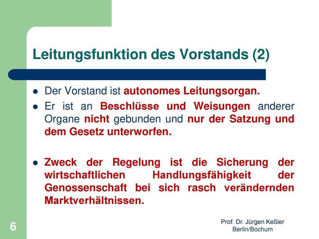 Leitungsfunktion des Vorstands (2)