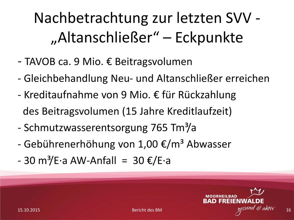 """Nachbetrachtung zur letzten SVV - """"Altanschließer – Eckpunkte"""