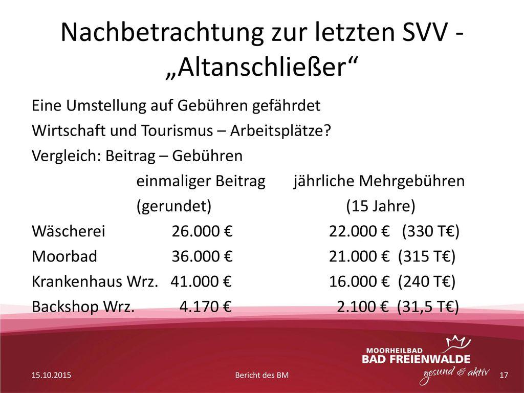 """Nachbetrachtung zur letzten SVV - """"Altanschließer"""