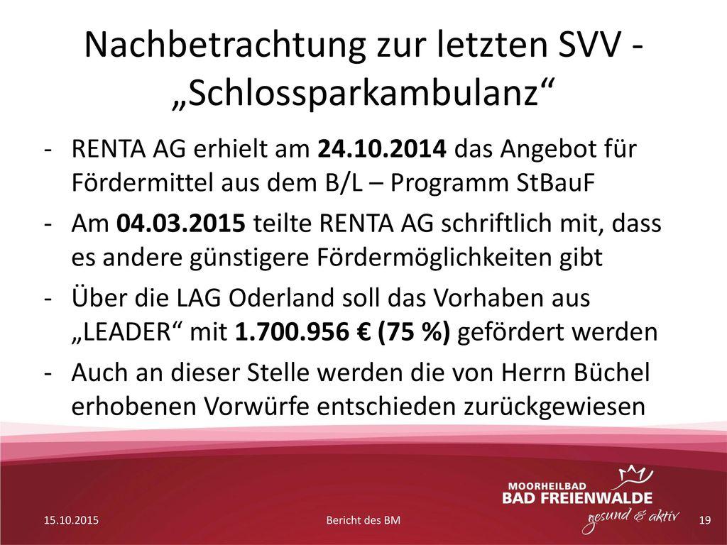 """Nachbetrachtung zur letzten SVV - """"Schlossparkambulanz"""
