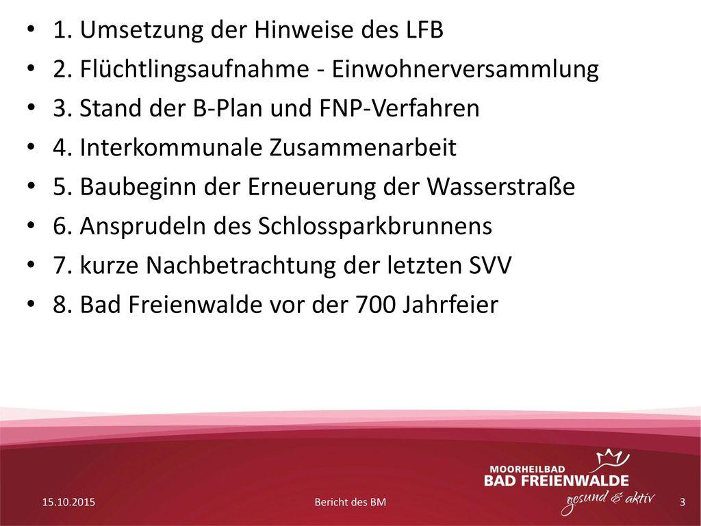 1. Umsetzung der Hinweise des LFB